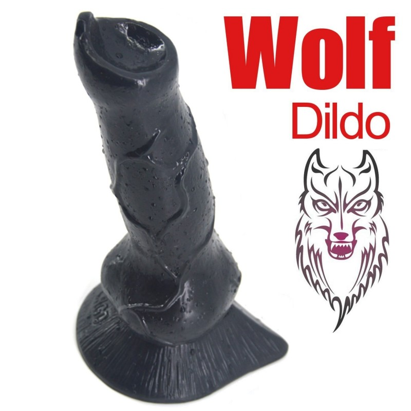 "Romi Animal Penis 7.3"" Realistic Wolf Dildo Big Size Cock Anal Plugs Artificial Sex Toys   Black"